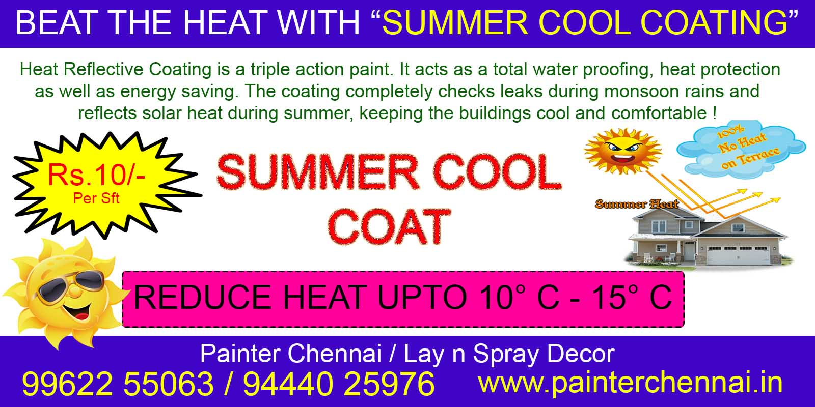 Summer Cool Coating | Heat Reflective Painting | Cool Roof